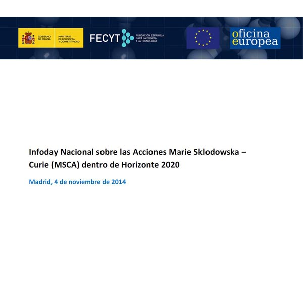 InfoDay Nacional on the Marie Sklodowska-Curie Actions
