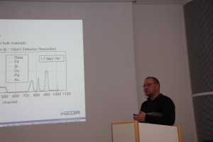 "René Heller (HZDR) gave a lecture entitled ""From hydrogen to heavy elements - depth resolved compositional analysis of materials by ion beam techniques"""