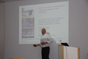 "Prof. B. Szyszka (TU Berlin) spoke about ""recent development on coating technologies for solar applications """